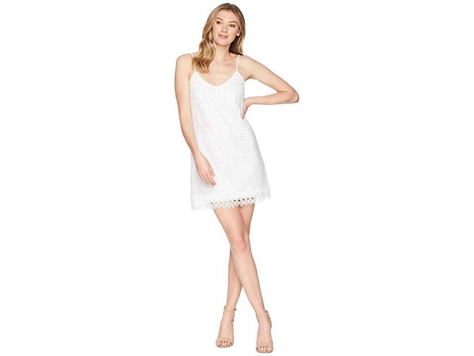 Jack by BB Dakota Jemma Geometric Lace Slip Dress (Bright White) Women