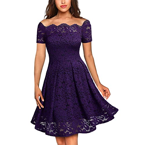 3513f366dcb MISSMAY Women s Vintage Floral Lace Boat Neck Cocktail Formal Swing Dress