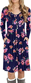 Women's Long Sleeve Button Casual Plain Swing Retro Dresses Wasp Down A-Line Dress with Pockets