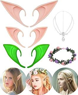 Cosplay Elf Ears - 3 Pairs Elf Fairy Ears with Elf Queen Head Chain and Wood Elf Garland for Halloween & Christmas & Cosplay & Vampire