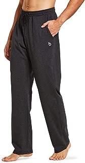 BALEAF Men's Active Yoga Sweatpants Open Bottom Jogging Leg Workout Jogger Jersey Straight Pants Side Pockets