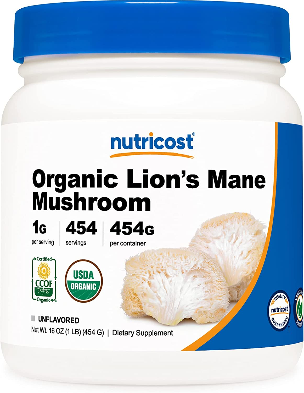 Nutricost Organic Lion's OFFicial site Mane Mushroom - Certified US Powder Ranking TOP13 1LB