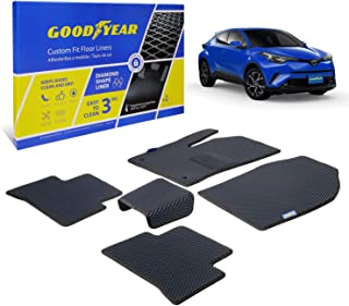 Goodyear Custom Fit Car Floor Liners for Toyota C-HR 2018-2020, Black/Black 5 Pc. Set, All-Weather Diamond Shape Liner Tra...