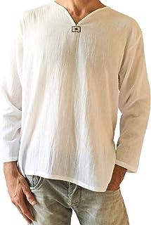 تي شيرت رجالي أبيض من القطن بنسبة 100% بتصميم هيبي برقبة على شكل حرف V من الأعلى لليوغا على الشاطئ