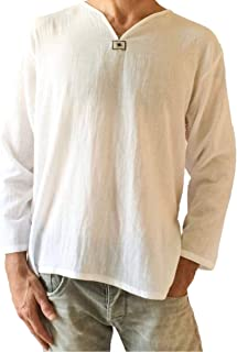 Men's White T-Shirt 100% Cotton Hippie Shirt V-Neck Beach Yoga Top