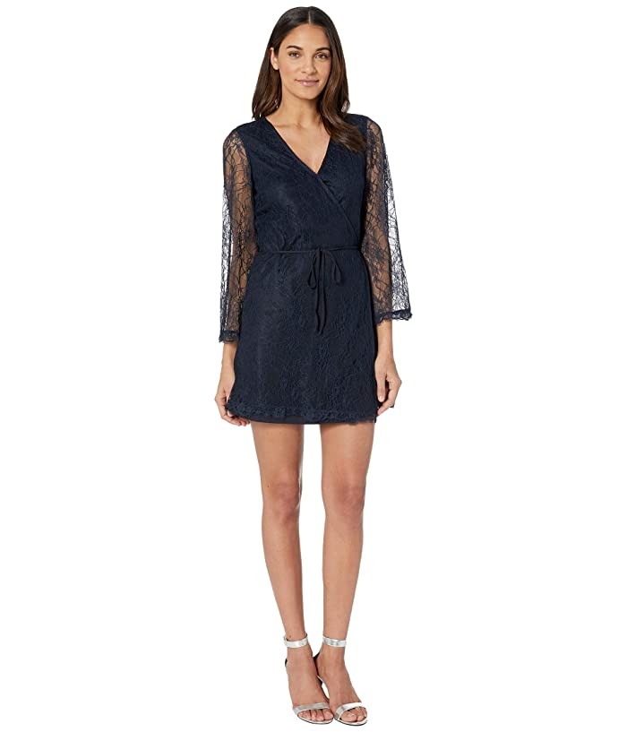 Cupcakes and Cashmere Lesley Lace Wrap Dress (Midnight) Women