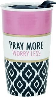 Pray More Worry Less Ikat and Pink 13 Oz. Ceramic Gold Tones Tumbler Mug with Lid