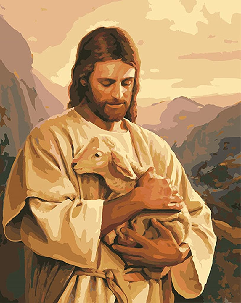 CaptainCrafts New Paint by Numbers 16x20 for Adults, Kids LINEN Canvas - Jesus Embrace Small Shepherd (Frameless)
