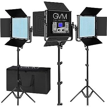Tlci97/ LED Video Light Gvm Cri97/ 18500lux intensit/é Variable Bi-Color 3200/K-5600/K lumi/ère pour ext/érieur Interview Studio Portrait Photographie.