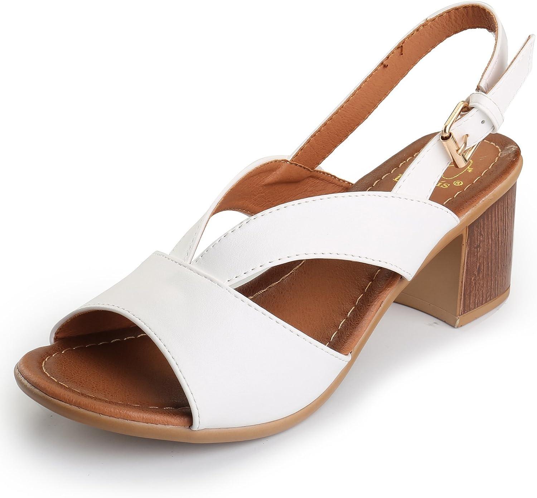 Alexis Leroy Women's Strappy Slingback Block Heel Dress Sandals