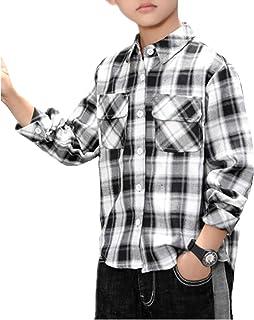 ZKKK ボーイズシャツ 子供シャツ ブラウス チャック柄シャツ 長袖シャツ トップス ジュニア 子供服 男の子インナーシャツ 通学 綿 キッズシャツ 上着 春秋服 ファッション カジュアル 通気性