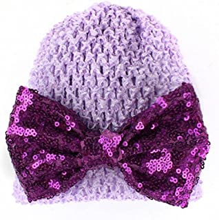 White Weiyun Baby Knitted Hat Striped Sequined Bowknot Kids Girls Soft Cute Cotton Cap Hospital Hats Toddler Infant Baby Beanie Caps