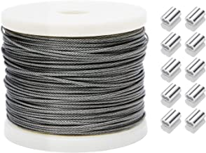 Derrun 200FT 1/16 Wire Rope, 304 Stainless Steel Wire Cable, 7x7 Strand Core, Braided Wire Cable for String Lights, Clothesline, 368 lbs Breaking Strength