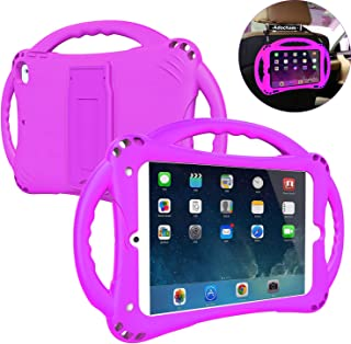Adocham Kids Case for iPad Mini 5 4 3 2 1, Lightweight andFull-Body Shockproof Premium Silicone Cover with Foldable Kickstand and Three Handles for iPad Mini,Comes with a Strap (Purple)