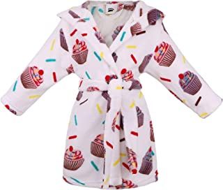 Image of Comfy and Cute White Sprinkles and Cupcakes Robe for Girls and Toddlers - See More Cupcake Robesns