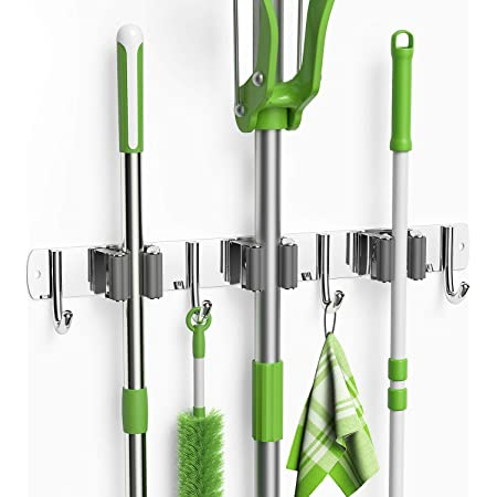 Mop Broom Holder No Drilling 4 Pack Heavy Duty Self Adhesive Mop Wall Mounted Garage Tool Storage Rack Organizer Hangers Hook Broom Gripper Holds for Home Kitchen Bathroom Closet Office Garden