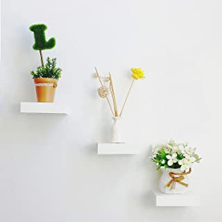 HAO ALWAYS DO BETTER Set of 3 Small Size Floating Wall Shelf 4 Inch Showcase White