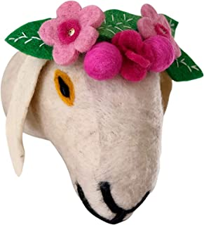 Felt Animal Wall Mount - Stuffed Goat Head with Flowers - Home and Nursery Handmade Wall Décor for Kids or Goat Lovers - Farmyard and Barnyard Theme Decorations