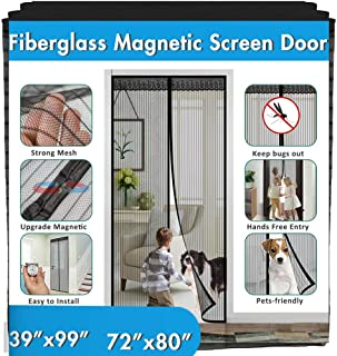 "39""x99"" 72""x80"" Fiberglass Magnetic Screen Door - IKSTAR Upgrade Reinforced Mesh Curtain with Magnet Closure, Hands Free, Full Frame Hook&Loop, Keep Bugs/Insect/Flys Out, Kid/Pets Entry Friendly"