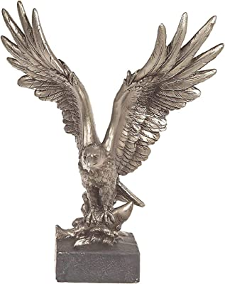 IH CASADECOR POLYRESIN Silver Open Winged Eagle Figurine FIGERINES, 7X4.5X9, Pewter