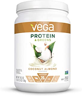 Vega Protein & Greens Coconut Almond (18 Servings, 18.3 Ounce) - Plant Based Protein Powder, Keto-Friendly, Gluten Free, Non Dairy, Vegan, Non Soy, Non GMO - (Packaging may vary)
