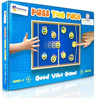 Nimster Toys & Games Pass The Face Emoticon Wooden Board Game. Fast paced and Dexterity Game. with lid to Prevent Pucks Loss. 2 Players Game.