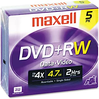 Maxell DVD+RW Discs, 4.7GB, 4X, w/Jewel Cases, Silver, 5/Pack