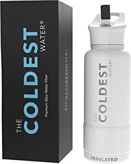 The Coldest Sports Water Bottle 32 oz Wide Mouth Insulated Stainless Steel Hydro Thermos - Cold up to 36 Hrs/Hot 13 Hrs Do...
