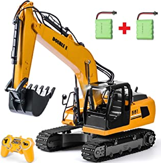 DOUBLE E Remote Control Excavator Toy Metal Shovel 17 Channel Hydraulic 2 Batteries RC Excavator Full Functional Construction Vehicles with LED Lights Sounds