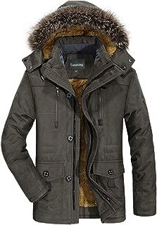 Men's Winter Warm Faux Fur Lined Coat with Detachable Hood
