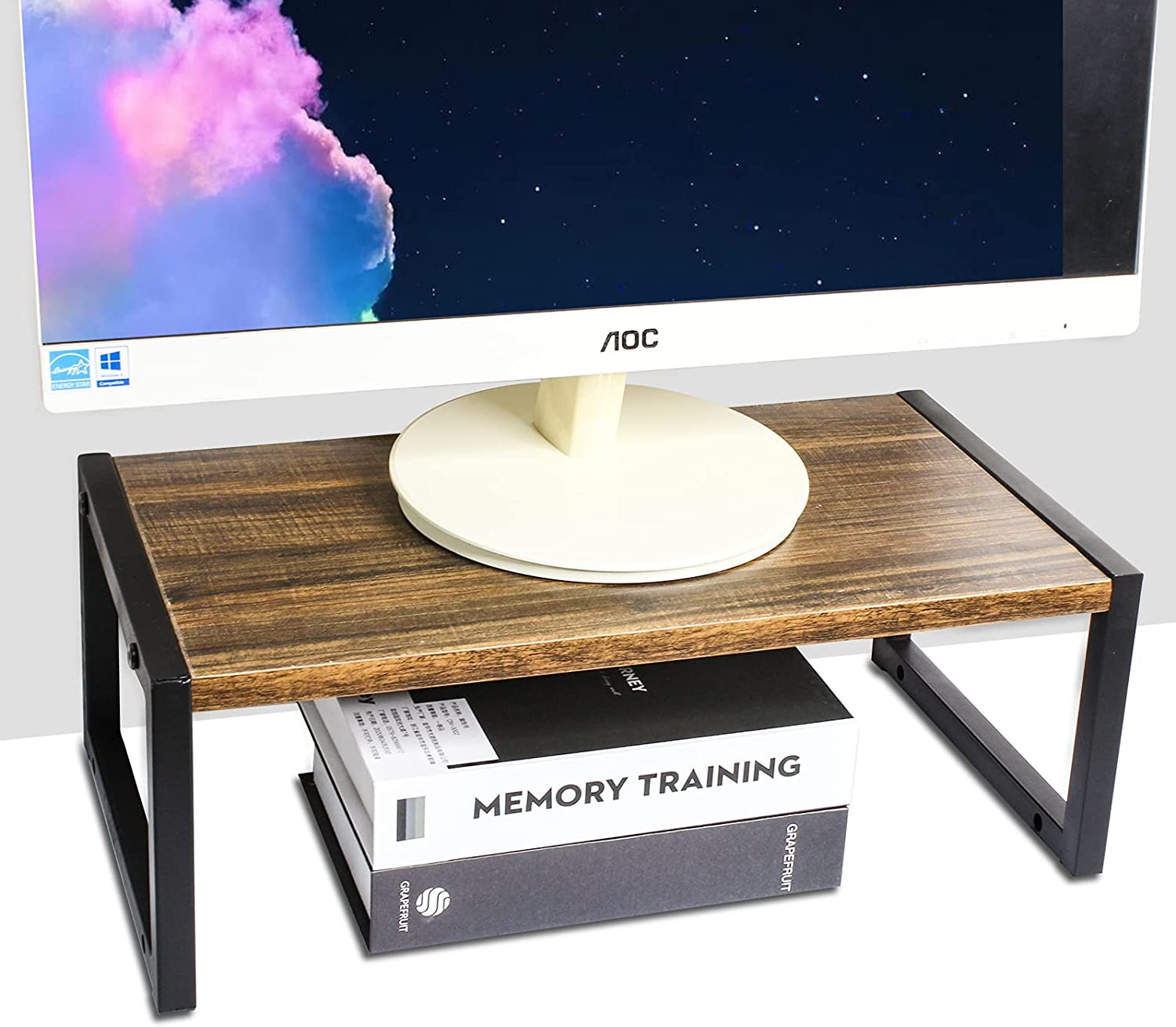 Monitor Stand Riser,2 Tier Computer Monitor Desktop Organizer Stand,PC Holder Computer Stand Desk Organizer, Desktop Stand for Printer & Flat Screen Display