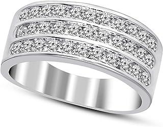 IGI Certified Lab Grown Diamond Ring 10K White Gold 7/8 carat Lab Created Diamond Engagement Band Ring For Women (7/8 CTT...