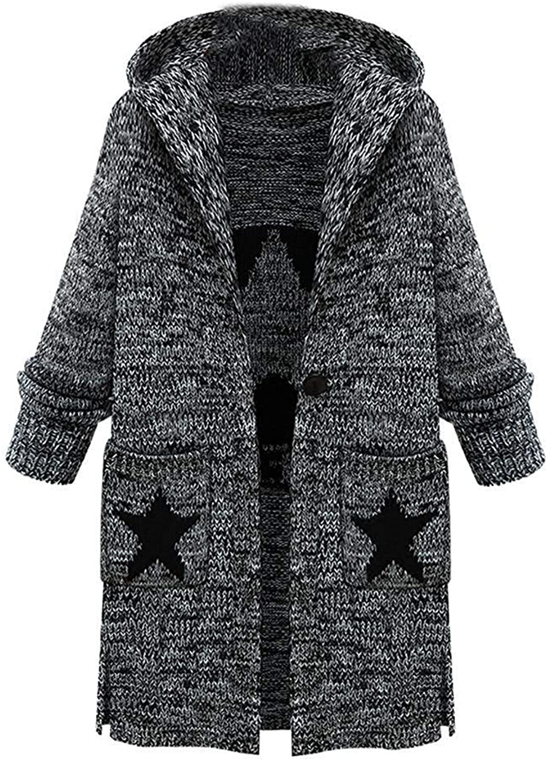 Cloudless Women's Fashion Long Hooded Cardigan Sweater Coat with Pocket