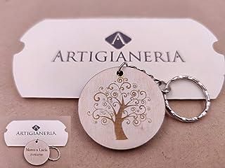 ArtigianeriA - Portachiavi in legno con anello, ALBERO DELLA VITA, personalizzato con testo a scelta sul retro. Portafortu...