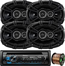 Pioneer DEH-S4100BT in-Dash Single-DIN CD Player Bluetooth Receiver, 4 x Kicker 43DSC69304 DS-Series 6x9 360W 3-Way Car Audio Coaxial Speakers, 16-Gauge 50Ft. Speaker Wire