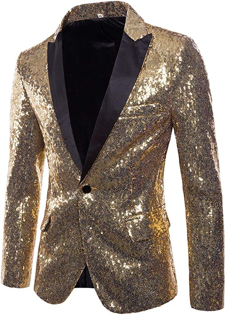 Vchomi New life Men's Shining Sequined Ranking TOP17 1 Casual Sport Button Coat