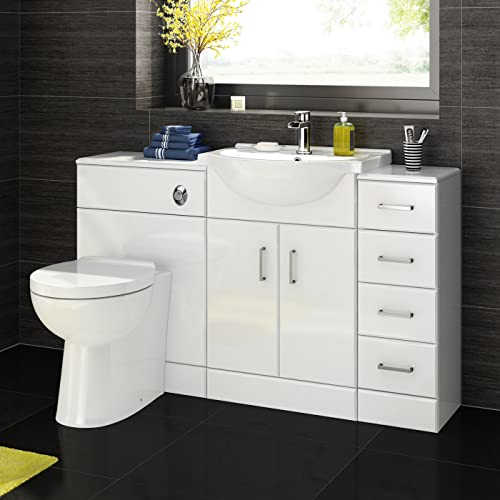 Gentil 1200 Mm White Gloss Bathroom Vanity Furniture Basin Back To Wall Toilet +  Drawer Unit