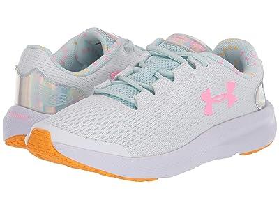 Under Armour Kids Pursuit 2 Prism (Big Kid) (White/Rift Blue/Pink Craze) Girls Shoes