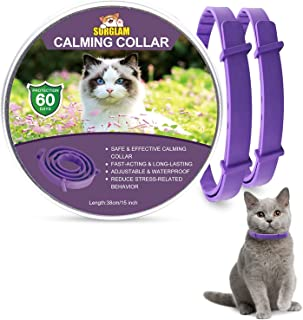 Calming Collar for Cats, Adjustable Anti-Anxiety Pheromone Cat Calming Collars, Break-away Waterproof Natural Long Lasting Calming Effect Stress Relief Pet Collars for Small Medium and Large Cats