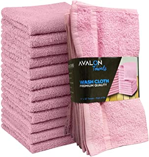 Avalon Towels Cotton Washcloths – 12x12 inches Value Pack of 24 - Made from Premium Ring-Spun Cotton – Highly Absorbent an...