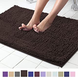 ITSOFT Non Slip Shaggy Chenille Soft Microfibers Bath Mat for Bathroom Rug Water Absorbent Carpet, Machine Washable, 21 x 34 Inches Chocolate Brown