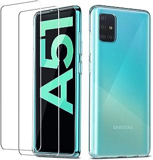 QHOHQ Fodral till Samsung Galaxy A51 (inte 5G) + 2-pack skärmskydd, härdat glas transparent ultratunt mjukt silikon TPU an...