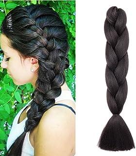 "24""(60cm) Pelo Sintético para Hacer Trenzas Africanas Extensiones de Cabello Se Ve Natural Crochet Braiding Hair Extension..."