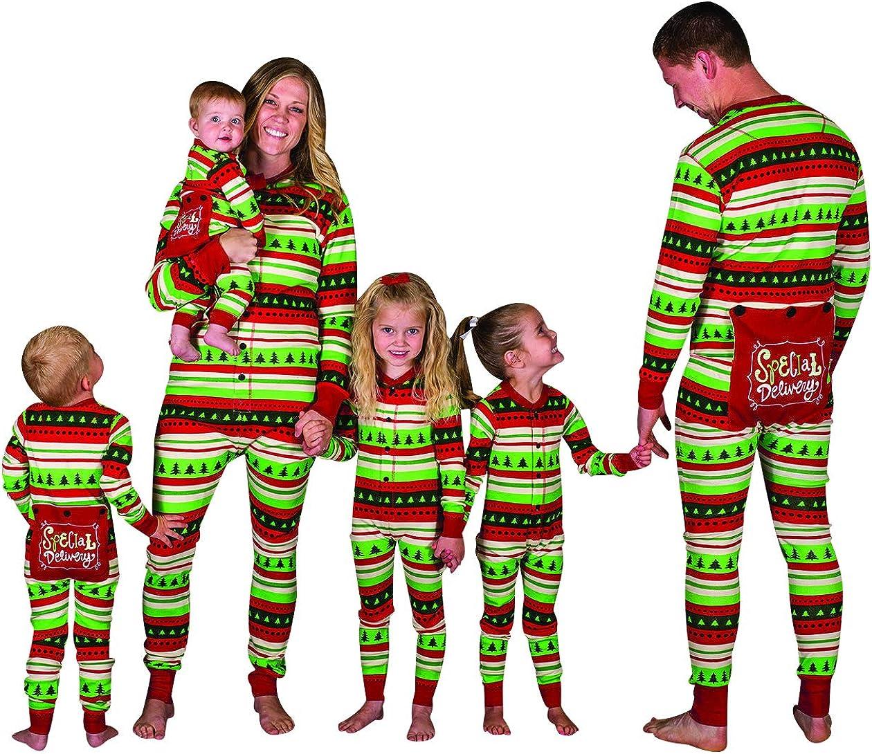 Pijamas Enteros Navidad Familia Pijama Mono Rayas Navideñas Noel Niños Hombre Mujer Niña Chica Chico Bebe Homewear Pijama Una Pieza Pijamas Entero ...