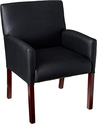 Boss Office Products Reception Box Arm Chair with Mahogany Finish in Black