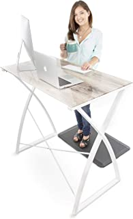 Stand Steady Joy Desk | Multifunctional Standing Table, Modern Glass Top with White Wood Look | Pretty Standing Desk w/Spacious Desktop Perfect for Home, Office & More! (White Wood / 43.25