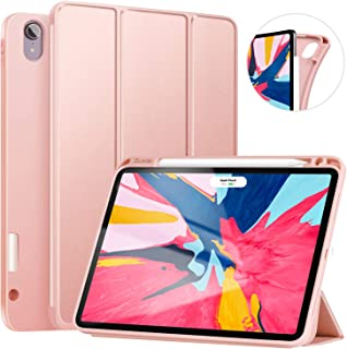 ZtotopCase for iPad Pro 11 Inch 2018 with Pencil Holder- Lightweight Soft TPU Back Cover and Trifold Stand with Auto Sleep/Wake,Support 2nd Gen iPad Pencil Charging,Rose Gold