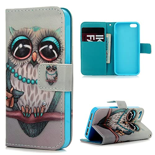 YOKIRIN iPhone SE Case,iPhone 5 5S Case, Soft PU Leather Wallet Notebook Embossed Elephant Kickstand Function Card Holder Slim Flip Full Edge Protective Skin Cover for iPhone SE 5 5S, Elephant