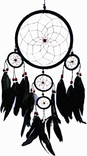Betterdecor Beautiful Handmade Dream Catcher Hanging Ornament (with a Gift Bag)- Multi Colors with Long Feathers (Black)