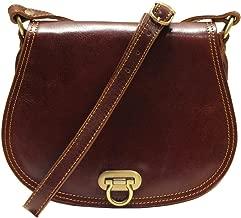 Floto Women's Saddle Bag in Brown Italian Calfskin Leather - Handbag Shoulder Bag